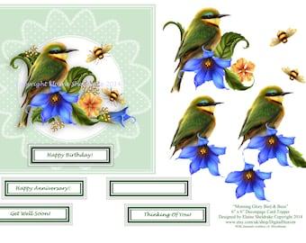 Morning Glory Bird & Bees 6 x 6 Decoupage Card Topper