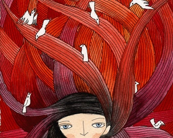 Tangled Red Hair with Birds - Art Print, Illustration Watercolor, Fairytale 5x7