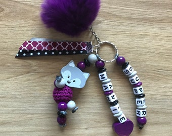 Keychain - Fox - personalized name or messge - tassels - ribbons