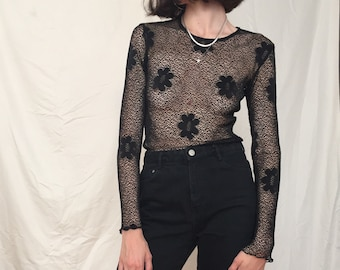 90s Black Mesh Long Sleeve with Floral Detail, small - medium