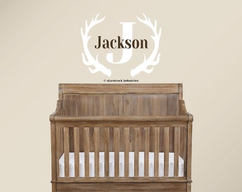 Personalized Antlers Name Wall Decal - Custom Woodland Themed Room Decor - Boys Hunting Themed Nursery Camo Room