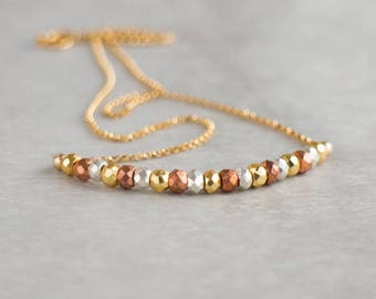 Mixed Metal Pyrite Necklace, Silver, Gold, Rose Gold Pyrite Necklace, Pyrite Jewelry, Sparkling Multi Pyrite Necklace, Pyrite Bar Necklace
