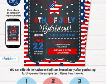 4th of July Invitations - 4th of July Barbecue - 4th of July Party - Chalkboard 4th of July - INTSTANT ACESS to files! Edit with Corjl!