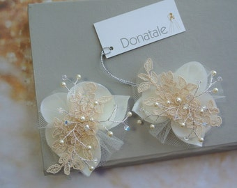 Bridal Hair Flower Ivory Champagne Orchid Hair clip Wedding Headpiece Lace Headpiece Small Flowers Orchid Headpiece Rose gold hair- JANET