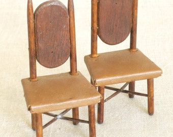 Antique Doll House Chairs, Folk Art, Handmade, Dollhouse, Doll Furniture, Miniature, Hand Crafted, Handmade, Seating, Pair, Dining Chair