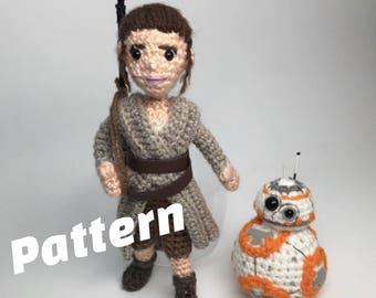 Rey Star Wars Force Awakens Inspired Amigurumi Crochet doll Pattern