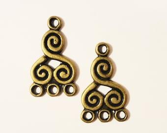 Bronze Chandelier Earring Findings 21x13mm Antique Brass Metal Swirl Spiral 3 to 1 Earring Connector Jewelry Making Jewelry Findings 6pcs