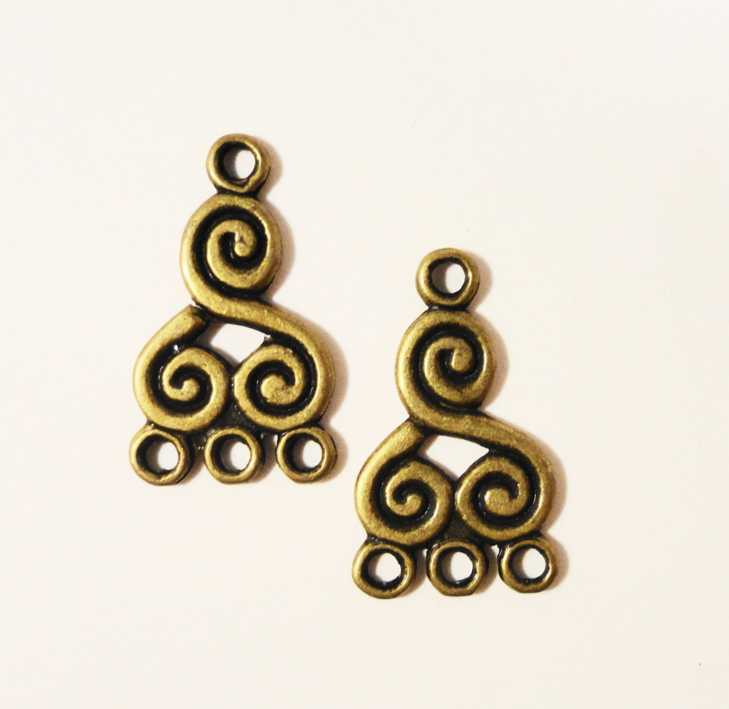 Bronze chandelier earring findings 21x13mm antique brass metal swirl bronze chandelier earring findings 21x13mm antique brass metal swirl spiral 3 to 1 earring connector jewelry making jewelry findings 6pcs aloadofball Choice Image