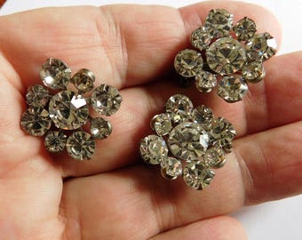 Vintage Rhinestone Jewelry Trio of Scatter Pins So Sparkly!