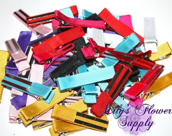 Grab Bag Lines Clips - Partially Lined Clips - Alligator Hair Clips - Set of 25 - Double Prong - 45 mm