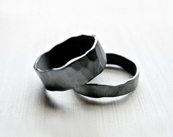 Stone Rings - Rustic Promise Rings for Couples - Promise Rings for Him and Her - Wedding Band for Him - Matching Rings for Couples
