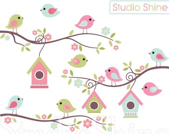 Digital Clipart - Home Tweet Home - Cute Birds Clip art for scrapbooking, party invitations, Personal and Small Commercial Use