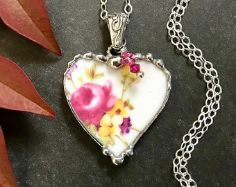 Necklace, Broken China Jewelry, Broken China Necklace, Heart Pendant, Pink and Purple, Sterling Silver, Soldered Jewelry