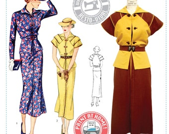 E-Pattern- Tea at Two- 1930s Day or Afternoon Dress- Wearing History PDF Vintage Sewing Pattern
