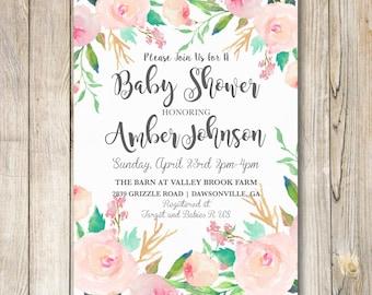 SALE INVITATION Baby Shower invitation, Floral shower invitation, Baby Shower, First Birthday,Baby Girl, Bridal Shower 5x7 Digital File
