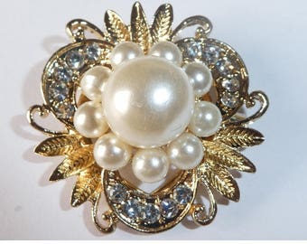 Brooch Scarf Sweater clip. Gold Plated rhinestones and faux pearls