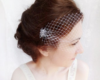 small wedding birdcage bandeau veil, white bird cage veil - FRINGE - bridal hair accessory, net face veil