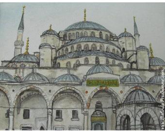 Blue Mosque Istanbul Turkey - ART PRINT - 8 x 10 - By Mixed Media Artist Malinda Prudhomme