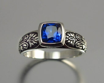 ALEXANDRA 14K white gold ring with Blue Sapphire
