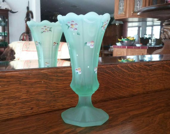 Opalescent Green Glass Vase By Fenton Glass Signed By