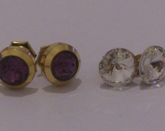 Two pairs of vintage sparkly stud earrings