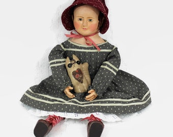 Polly. Reproduction Izannah Walker doll Civil War 19th century 18 inch
