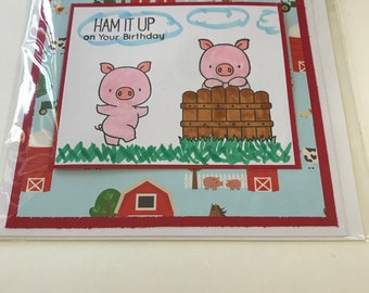 Handmade Little Pig Birthday card
