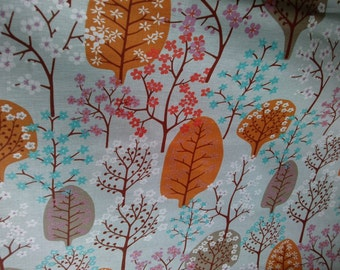 LINEN Curtain panel grey orange blue brown blosom tree Decor Cafe curtain Kitchen valance , runner , napkins available, great GIFT