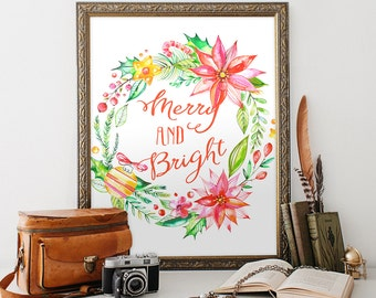 Christmas printable 8x10 Instant Download Merry and Bright Christmas Printable Art Christmas Decor Holiday Wall Art Christmas Decoration
