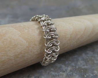 Chainmaille Ring in Sterling Silver, chain mail