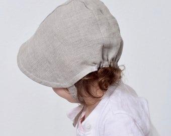Natural Linen Baby Bonnet