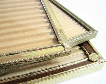 Vintage Gold Metal 8x10 Picture Frames, Trio, Set of 3 ... Faux Bois Inlay, Beaded Edge, Ornate Corner Brackets ... Tabletop Photo Frames