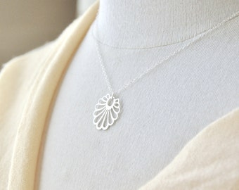 Silver Dandelion Necklace - Silver Necklace, Dainty Necklace, Feminine Necklace, Delicate Necklace, Everyday Jewelry
