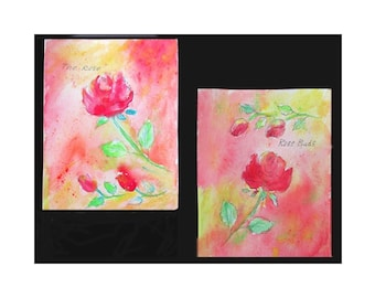 Flower Watercolors With Pen And Ink * ROSE And ROSEBUD * Set Of Two Watercolors