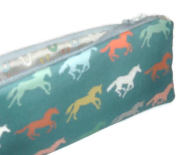 Horse Pencil Pouch - Stocking Stuffer - Teacher Gift - Padded Zipper Pouch