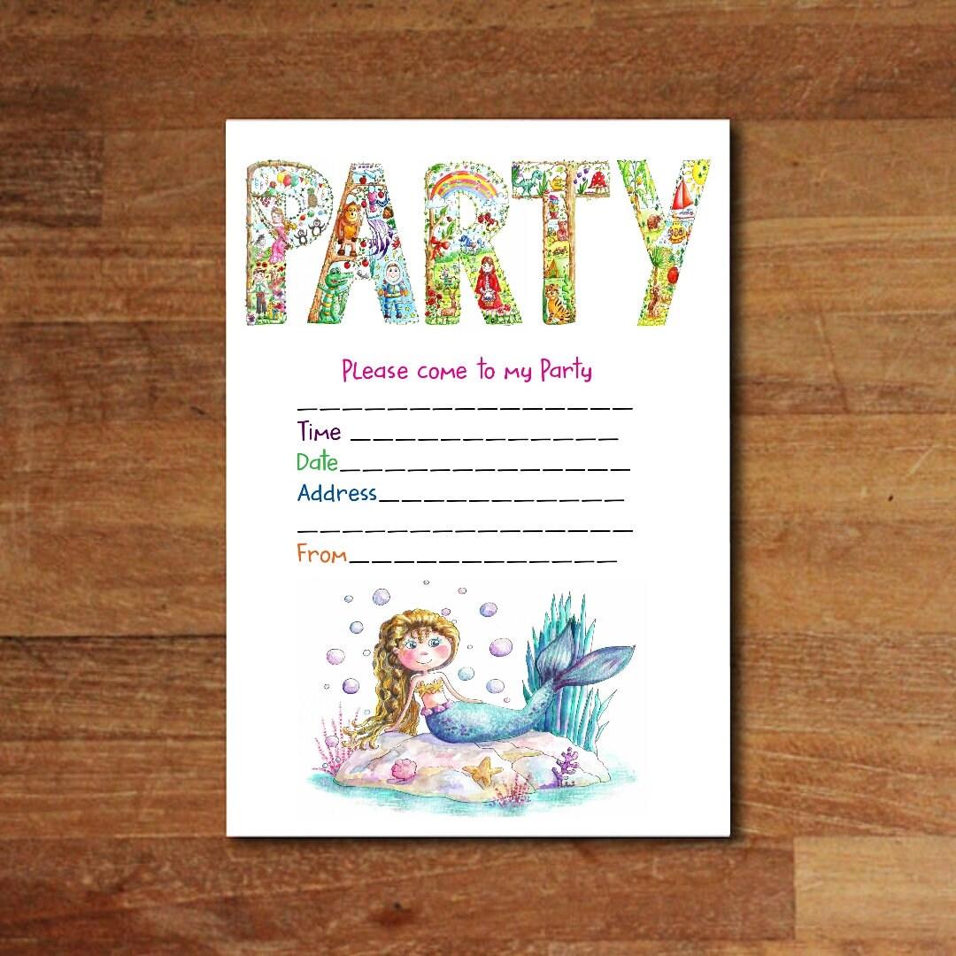 PDF Mermaid Party Invitation Download Invitation A5 invite