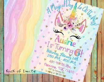 Rainbow Unicorn Birthday Invitation(Printed)