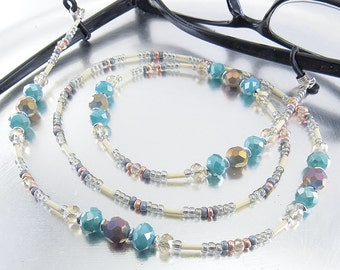 Blue and Champagne Crystal Glass Sparkly Beaded Eyeglass Lanyard, Leash