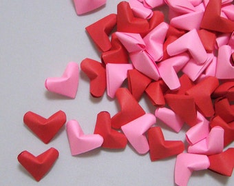 Small Origami Hearts (100): Red and Pink Paper Hearts