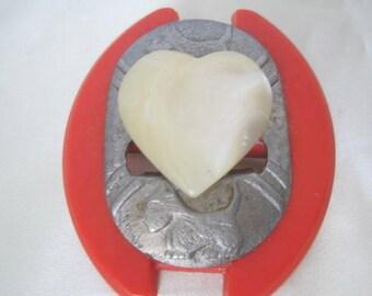 Scottie Dog Brooch, White Heart Center, Red Surround, Lucite Pin