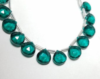 Emerald Green Hydro Quartz Micro Faceted Briolette Beads 10mm - 12mm