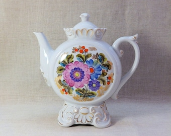 Soviet USSR Teapot Coffeepot 9 1/4'' Flower w Gold trim Kiev, not LFZ.