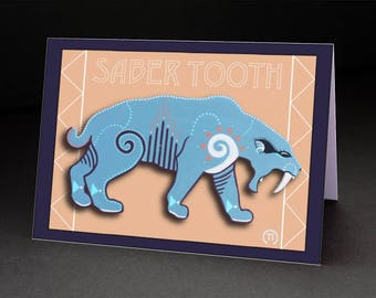 "Saber-Tooth Tiger 4.25"" x 6"" Blank Greeting Card"