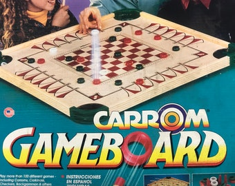Vintage Wood Carrom Game Board With Game Pieces