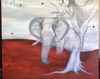 Retablo Folk Art - Compassion, Elephant Artwork, Acrylic on Canvas, Dia De Los Muertos, Wall Art