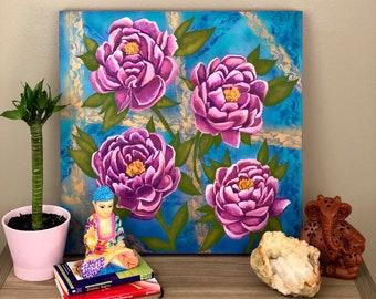Pink Peonies Acrylic Painting