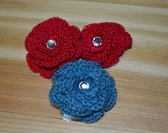 Crocheted Rose Hair Clips