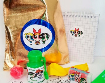 Power Puff loot/party bag with 8 items inside, great value