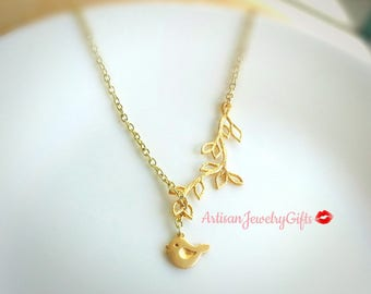 Matte Gold Cute Bird Necklace Gold Branch Lariat Necklace Gold Sparrow Necklace Branch Necklace Mother's Day Gift For Her Handmade Jewelry