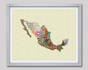 Mexico Map, Mexico City Map, Mexico Poster, Mexico Wall Art, Mexico Travel Art Painting, Mexico Wall Decor, Mexican Art